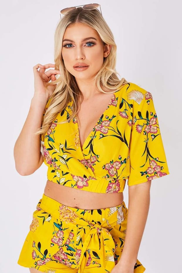 MALERIE YELLOW FLORAL WRAP FRONT CROP TOP