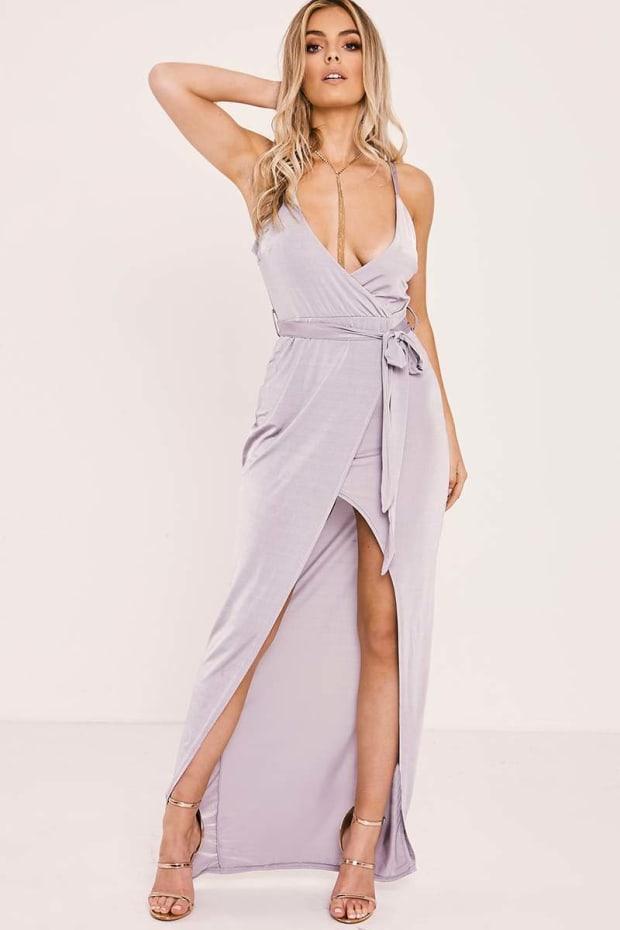 CALYNDA GREY SLINKY WRAP TIE FRONT MAXI DRESS