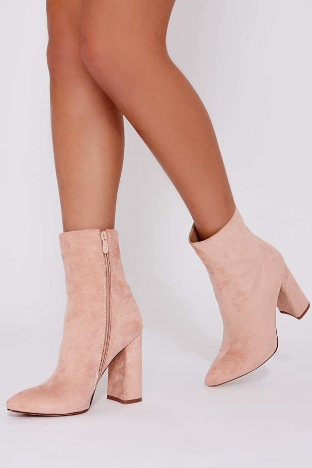 STELLA BLUSH FAUX SUEDE HEELED ANKLE BOOTS