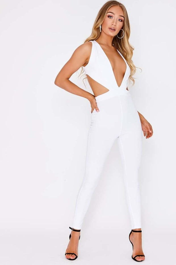 MERILYN WHITE PLUNGE CUT OUT SIDE JUMPSUIT