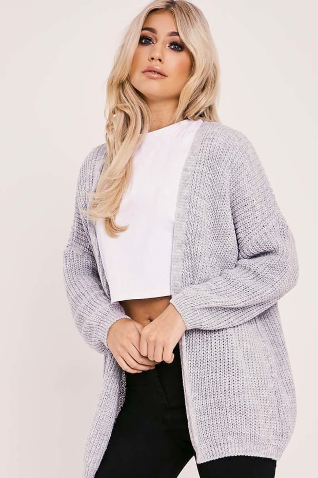 LINLY GREY KNITTED LONGLINE CARDIGAN