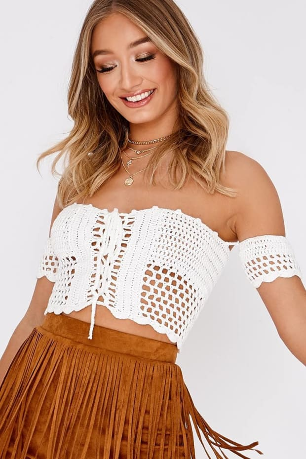 MARELDA WHITE CROCHET BARDOT TOP