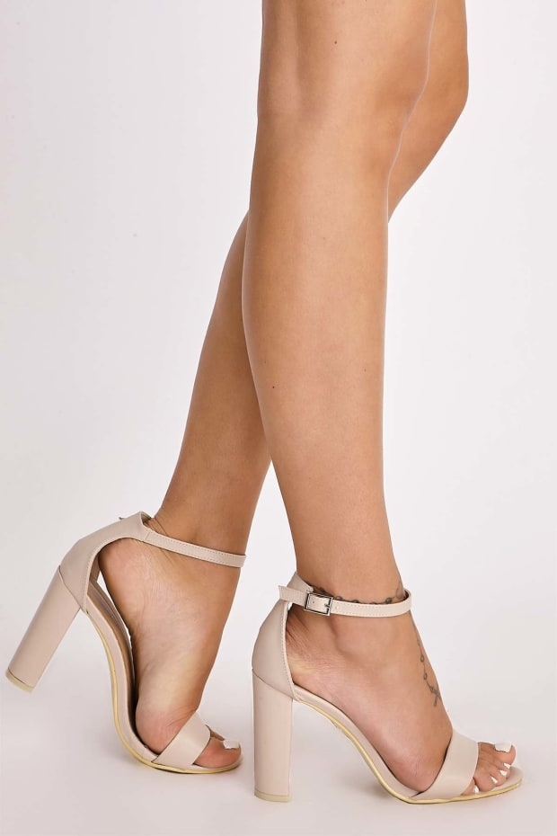 MORGAN NUDE FAUX LEATHER ANKLE STRAP BARELY THERE HEELS