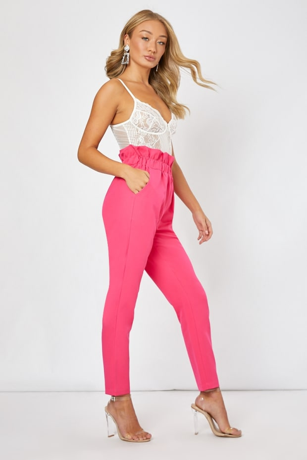 NINEL PINK PAPERBAG WAIST TROUSERS