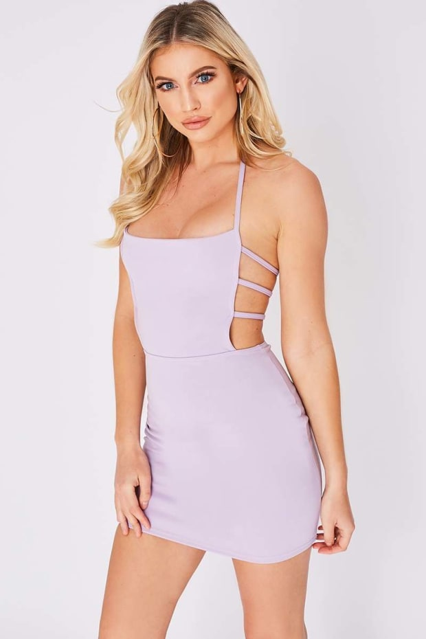 EDALINE LILAC STRAP DETAIL MINI DRESS
