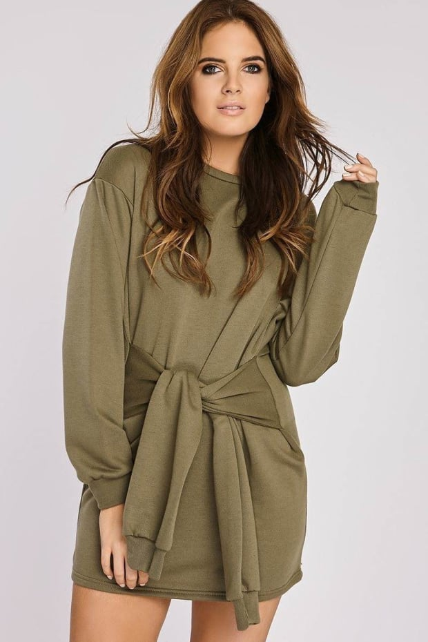 Binky Khaki Tie Front Sweater Dress