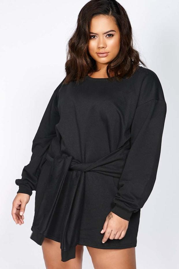 Curve Binky Black Tie Front Sweater Dress