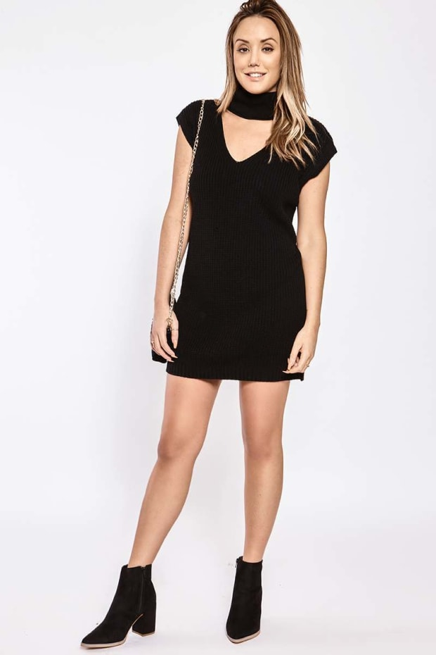 c067d5c3143 CHARLOTTE CROSBY BLACK SLEEVELESS CUT OUT COLLAR JUMPER DRESS
