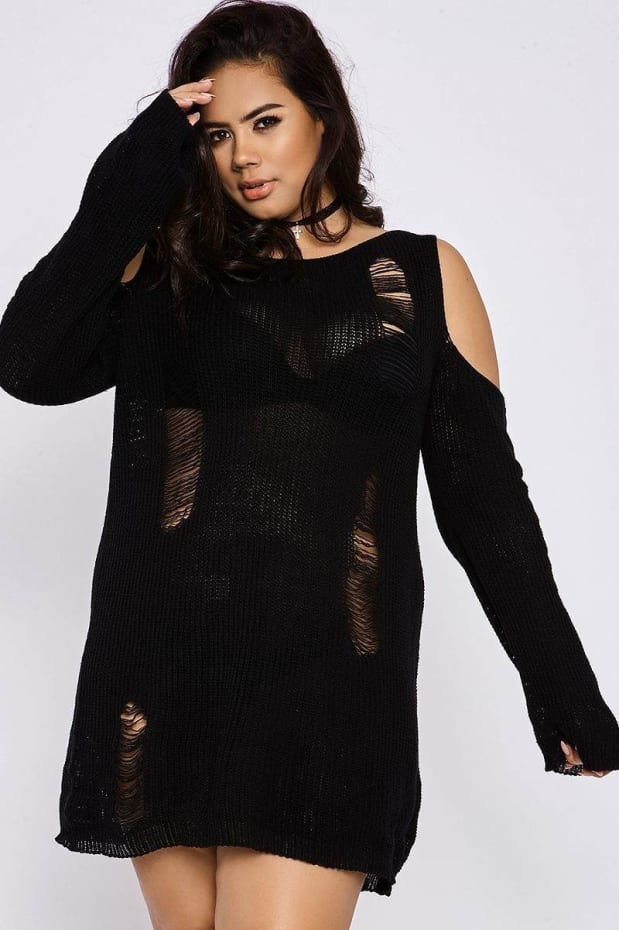 CURVE CHARLOTTE CROSBY BLACK COLD SHOULDER DISTRESSED JUMPER DRESS