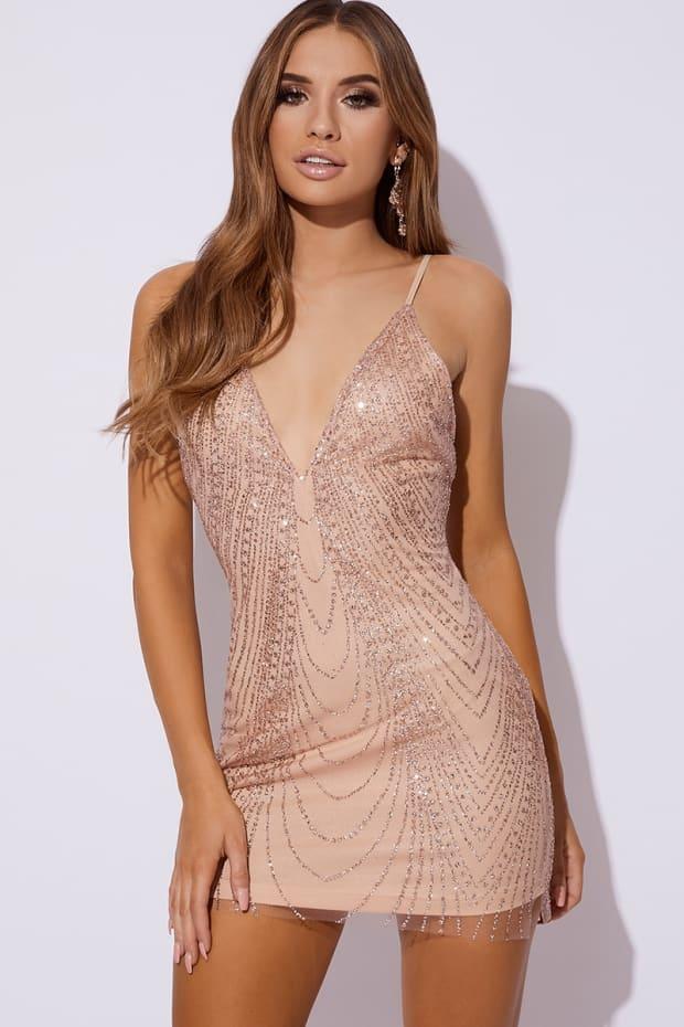 BELITA ROSE GOLD GLITTER MESH MINI DRESS