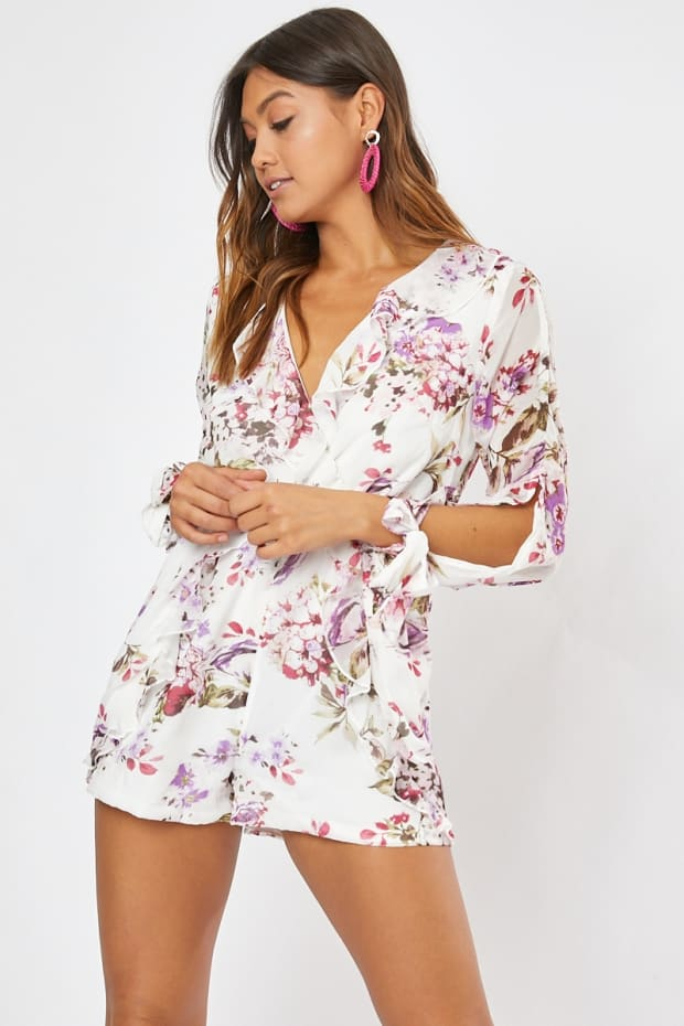 HALLOW WHITE FLORAL WRAP FRILL PLAYSUIT