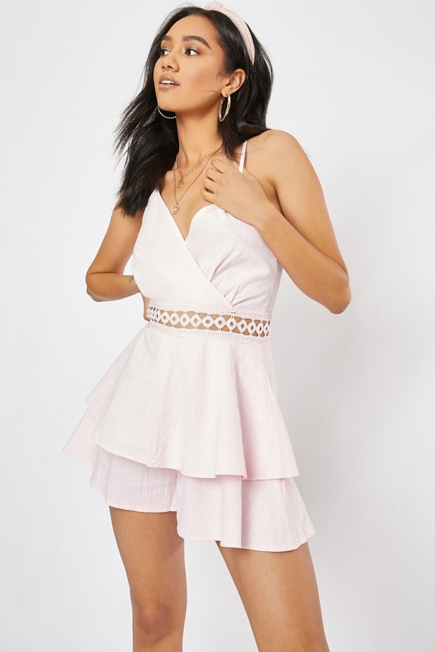 ALMAH PINK CROCHET TRIM LAYERED WRAP PLAYSUIT