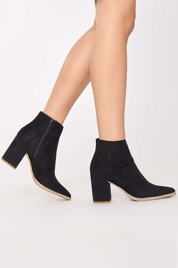 PENNIE BLACK FAUX SUEDE BLOCK HEEL ANKLE BOOTS