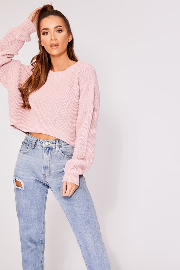 KIRRA BLUSH CREW NECK BASIC CROPPED JUMPER