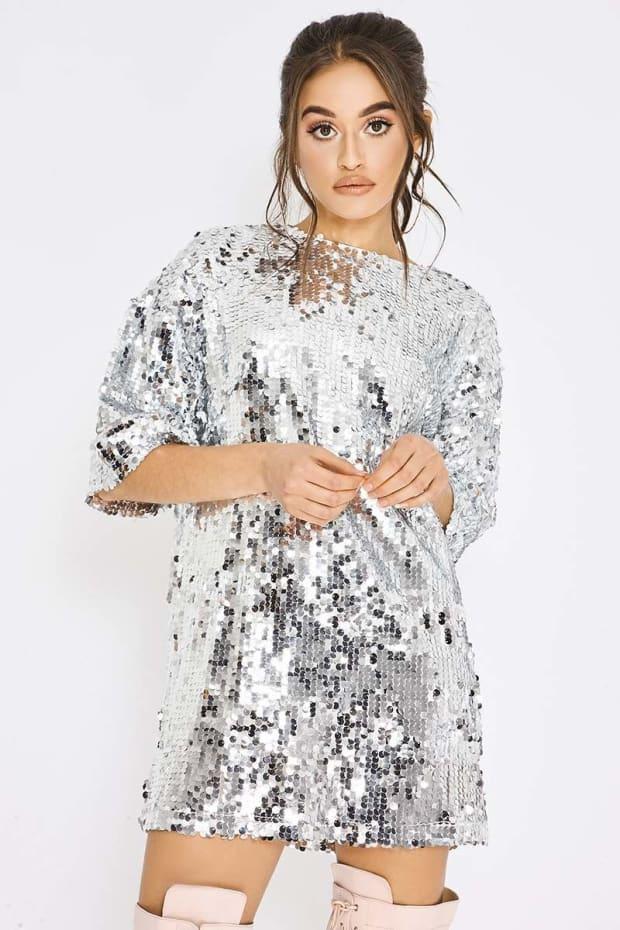 41d1e9d829 Pia Mia Silver Sequin Oversized T Shirt Dress