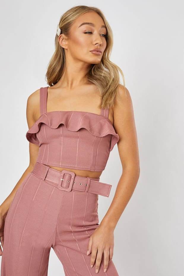 BILLIE FAIERS BLUSH PINK BANDAGE FRILL CROP TOP