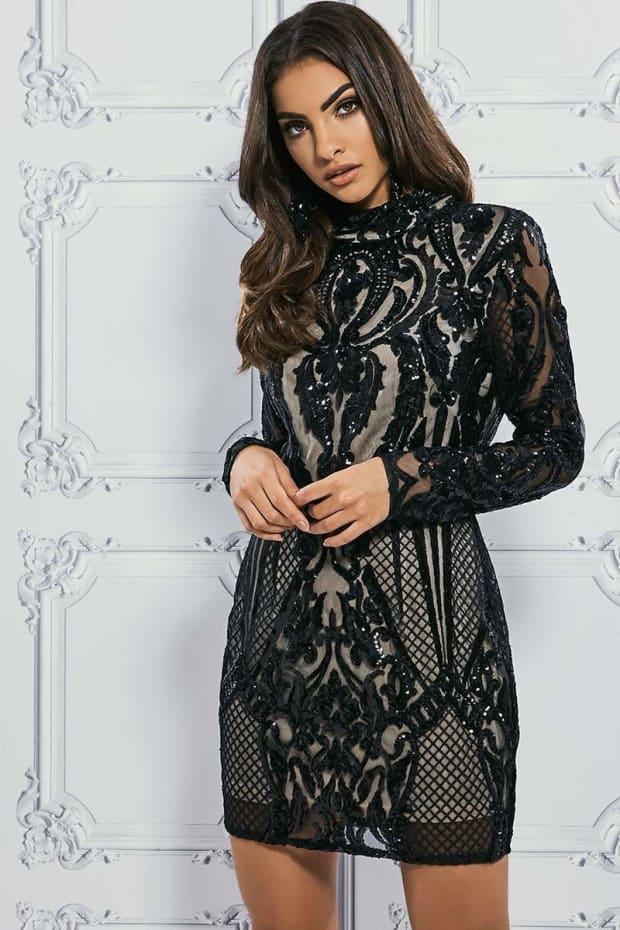 PREMIUM BLACK HIGH NECK PLACEMENT SEQUIN BODYCON DRESS