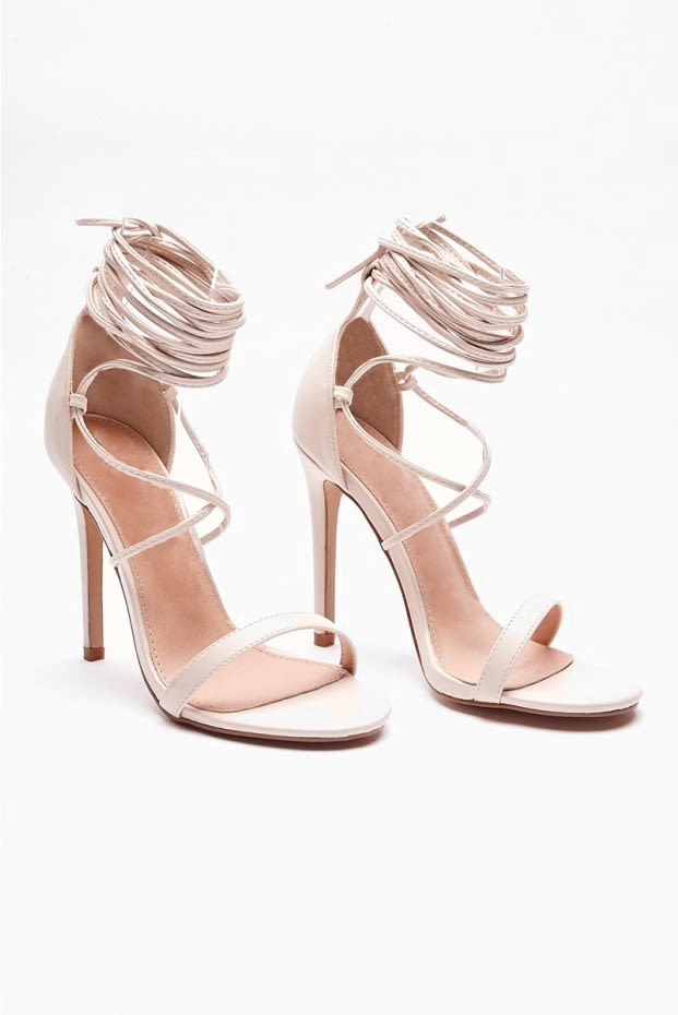 RANIAT NUDE STRAPPY BARELY THERE HEELS