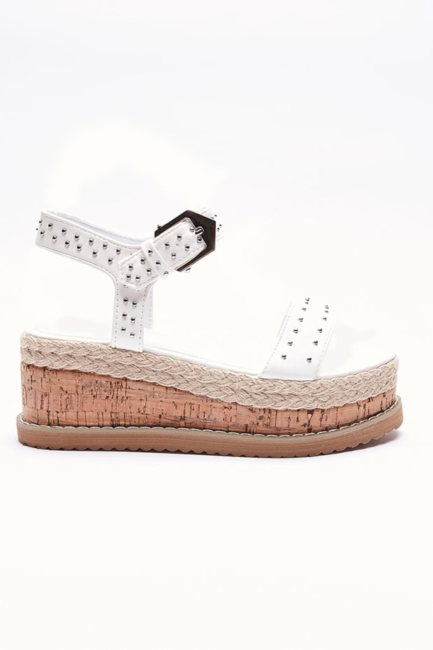 PENE WHITE FAUX LEATHER PLATFORM ESPADRILLES