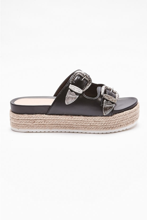 ILONIA BLACK BUCKLE DETAIL FLATFORM SLIDERS