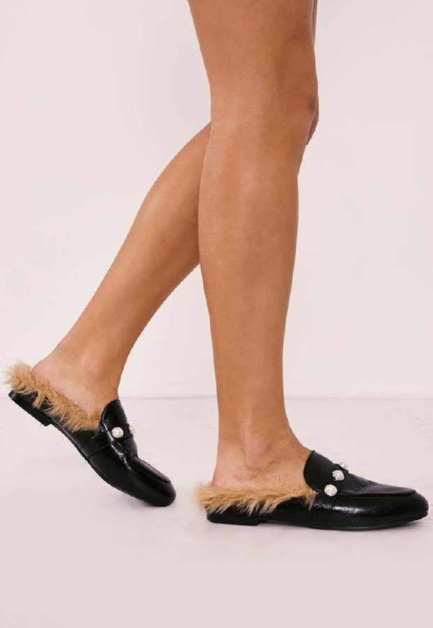RANELL BLACK PEARL DETAIL FAUX FUR BACKLESS LOAFER