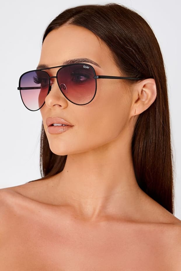 QUAY SAHARA PURPLE TINTED LENS AVIATOR SUNGLASSES