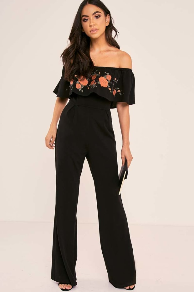 BINKY BLACK FLORAL EMBROIDERED BARDOT FRILL PALAZZO JUMPSUIT