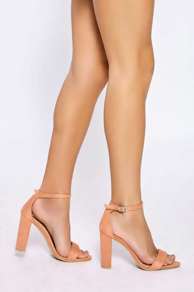 MORGAN PEACH FAUX SUEDE ANKLE STRAP HEELS