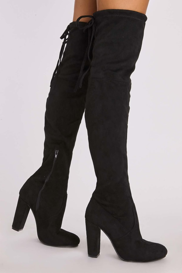 0c1816bc2 Remi Black Faux Suede Over The Knee Heeled Boots