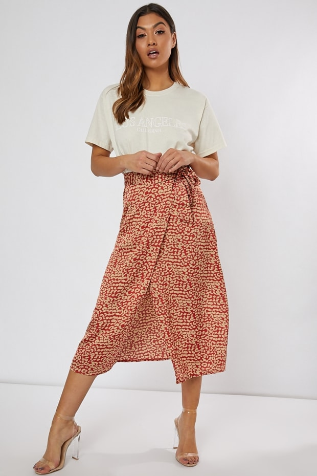 NITILIA  RED LEOPARD PRINT WRAP SKIRT