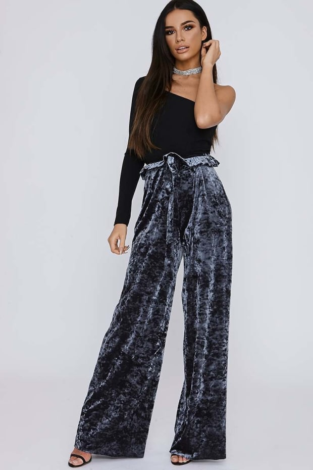 SARAH ASHCROFT TALL GREY CRUSHED VELVET PAPERBAG WAIST TROUSERS