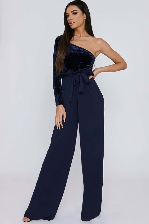 SARAH ASHCROFT TALL NAVY CREPE PAPERBAG TROUSERS