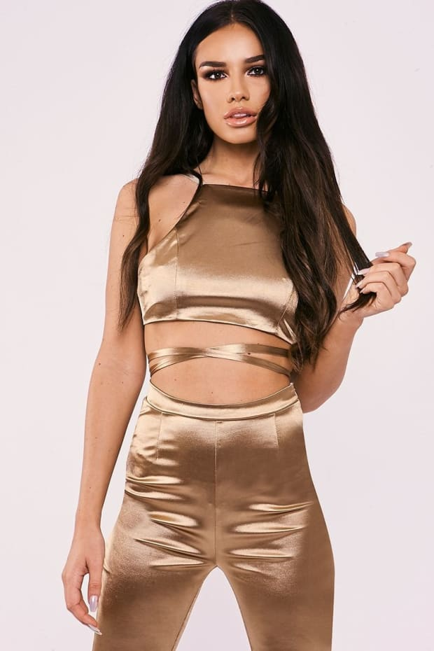 SARAH ASHCROFT GOLD STRETCH SATIN TIE BACK CROP TOP