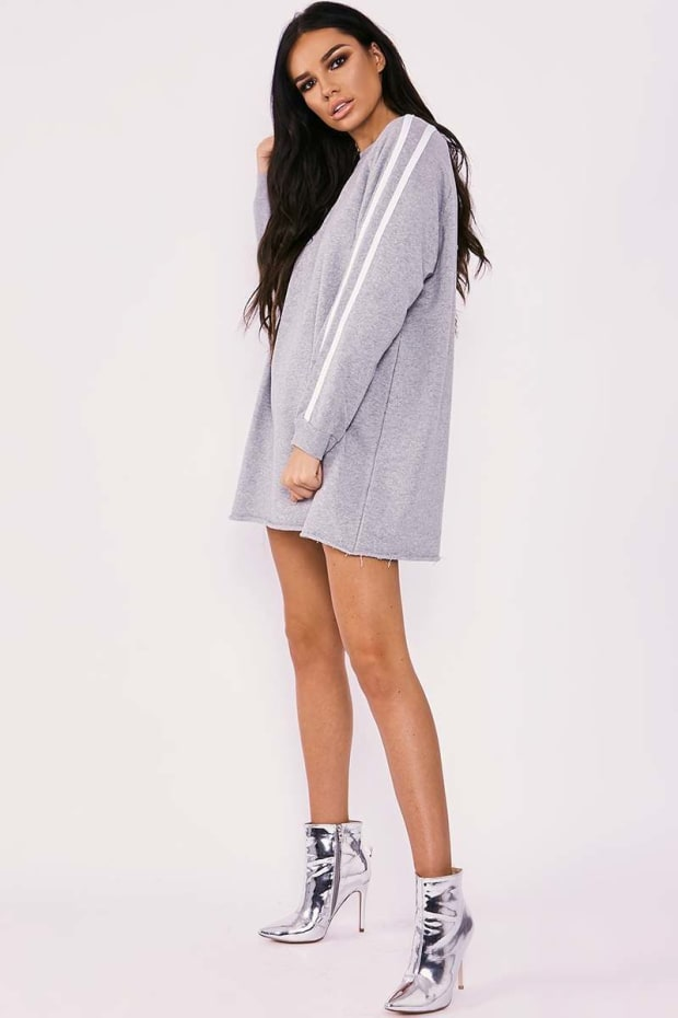 SARAH ASHCROFT GREY MARL SPORTS STRIPE OVERSIZED JUMPER DRESS
