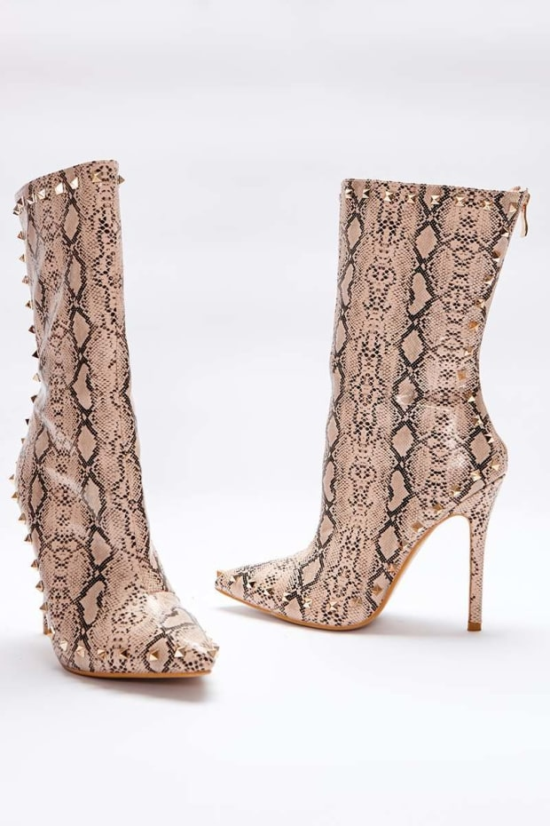 SARAH ASHCROFT NUDE SNAKE PRINT STUDDED SOLE ANKLE BOOTS