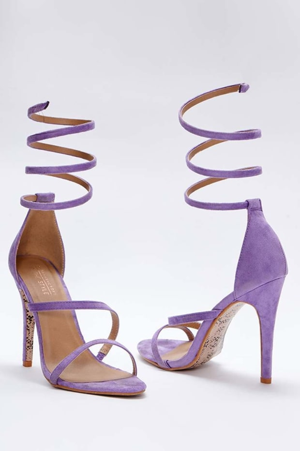 SARAH ASHCROFT LILAC FAUX SUEDE SPIRAL BARELY THERE HEELS