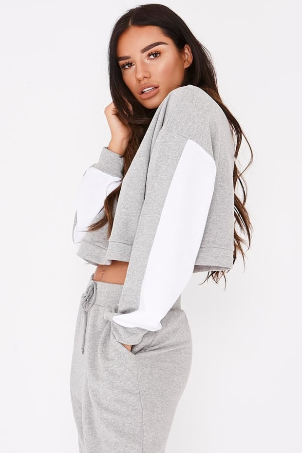 SARAH ASHCROFT GREY CONTRAST PANEL CROPPED SWEATSHIRT