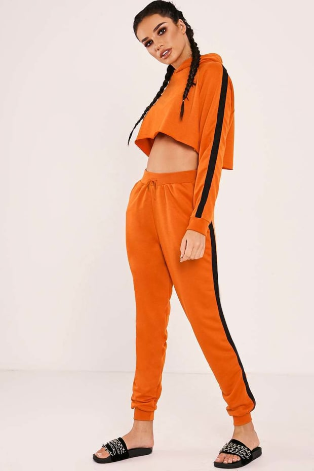 SARAH ASHCROFT ORANGE HIGH WAISTED DRAWSTRING JOGGERS