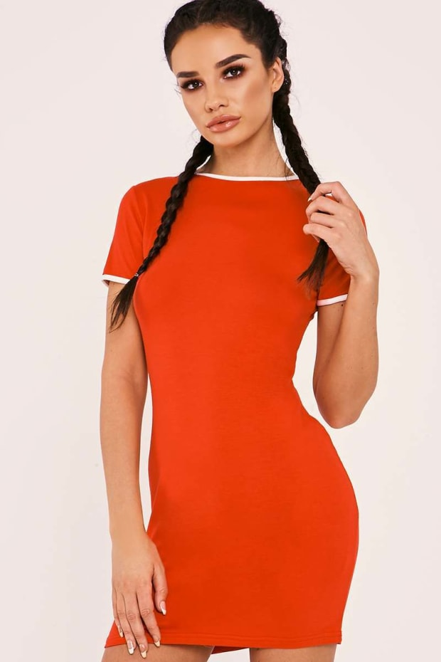 SARAH ASHCROFT RED CONTRAST TRIM JERSEY DRESS
