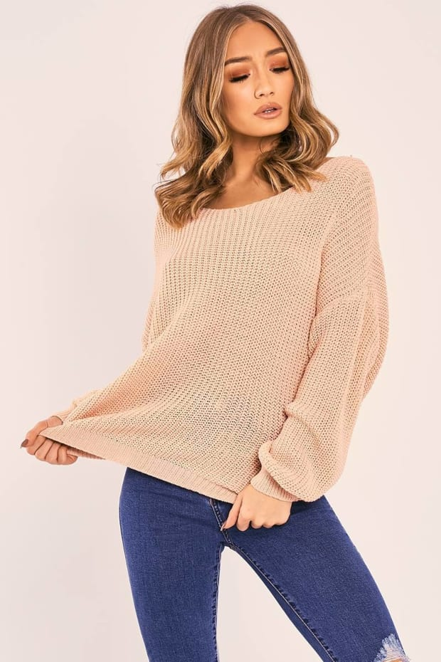 JAZLYNN BLUSH TWIST BACK KNITTED JUMPER
