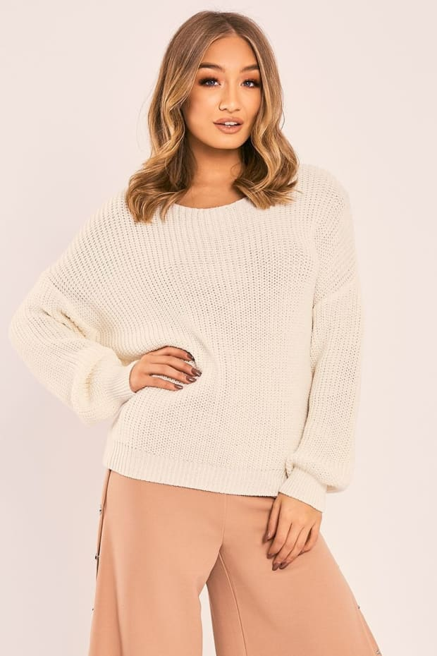 JAZLYNN CREAM TWIST BACK KNITTED JUMPER