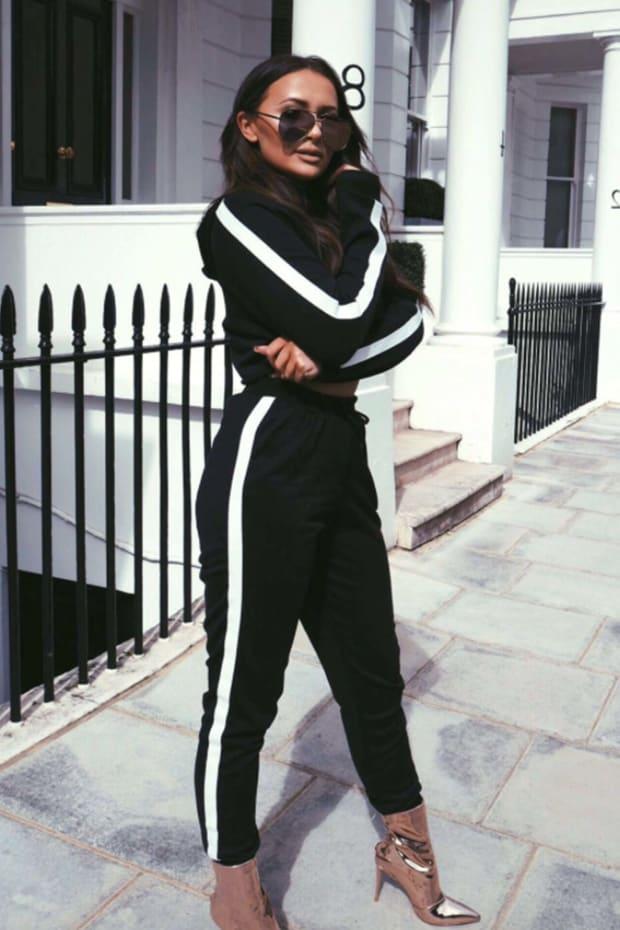 SARAH ASHCROFT BLACK HIGH WAISTED DRAWSTRING JOGGERS