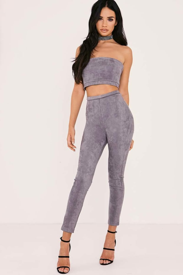 SARAH ASHCROFT GREY FAUX SUEDE HIGH WAISTED LEGGINGS