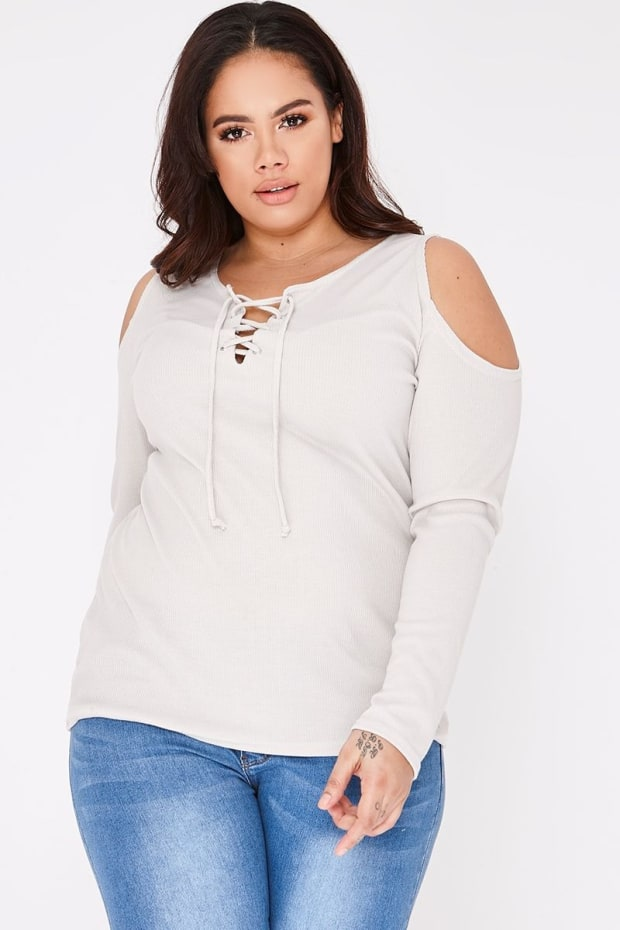 CURVE LAIYLA GREY RIBBED LACE UP COLD SHOULDER TOP
