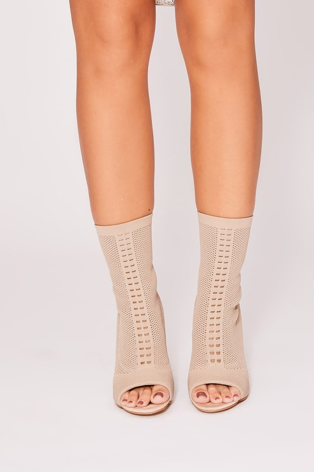 XIN STONE KNITTED POINTELLE PEEP TOE HEELS