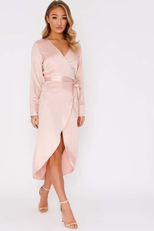 DILLYN NUDE SATIN WRAP MIDI DRESS
