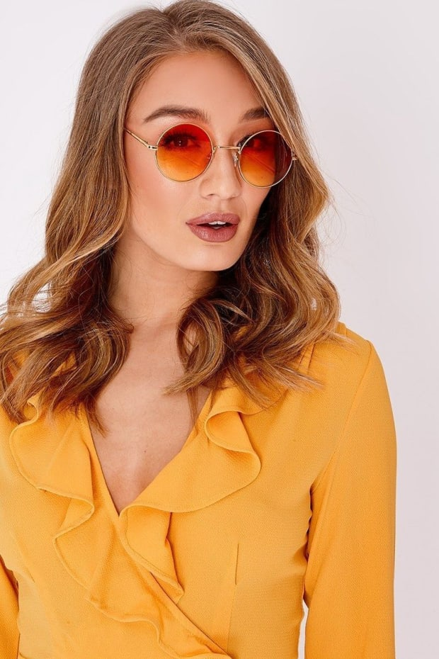 ORANGE LENS 90'S  ROUND FRAMED SUNGLASSES