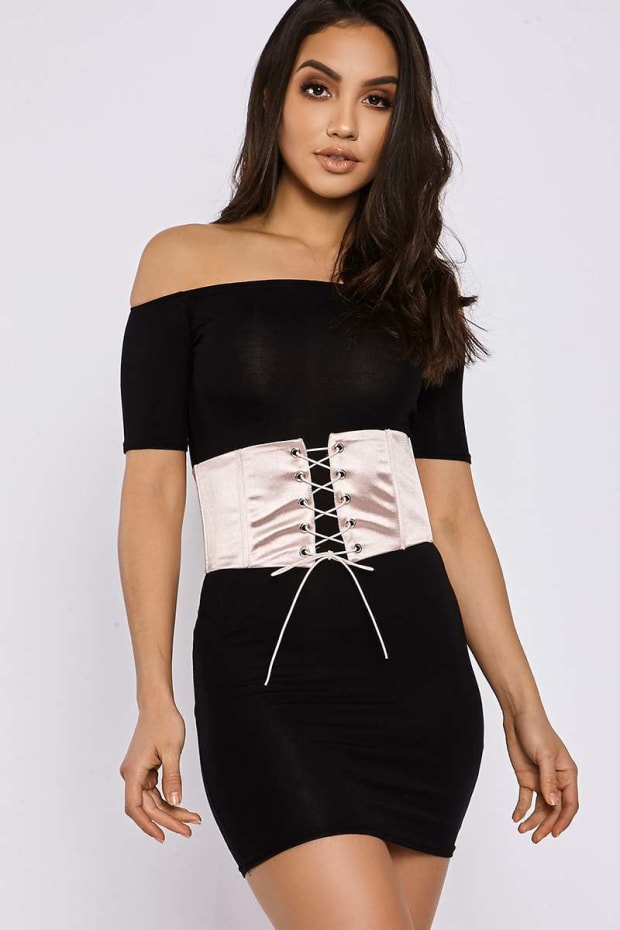 PINK SATIN LACE UP CORSET BELT