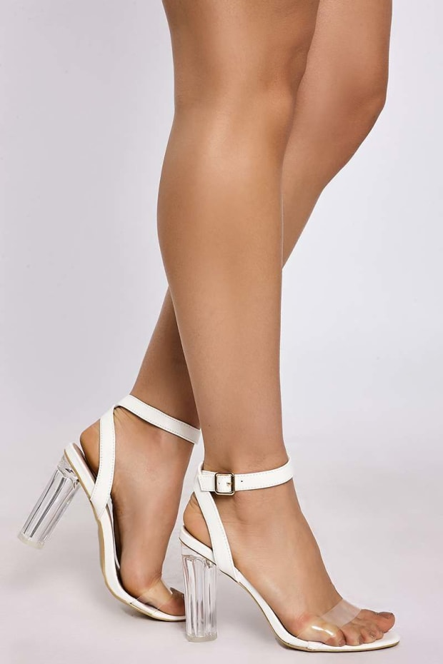 SALLIE WHITE FAUX LEATHER BARELY THERE CLEAR STRAP HEELS