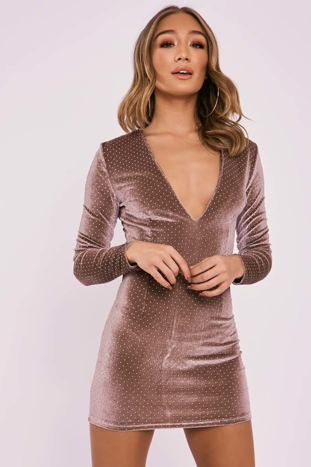 BRINLEE MOCHA STUDDED VELVET LONG SLEEVE PLUNGE DRESS